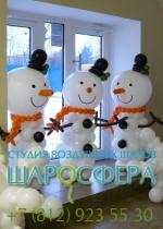 Снеговики и снежинки из шаров