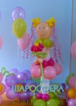 цветочные композиции и кукла из шаров