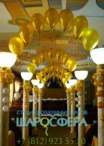 оформление входа золотыми шарами