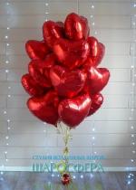 Шары сердечки из фольги красные