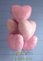 Шары сердечки из фольги розовые