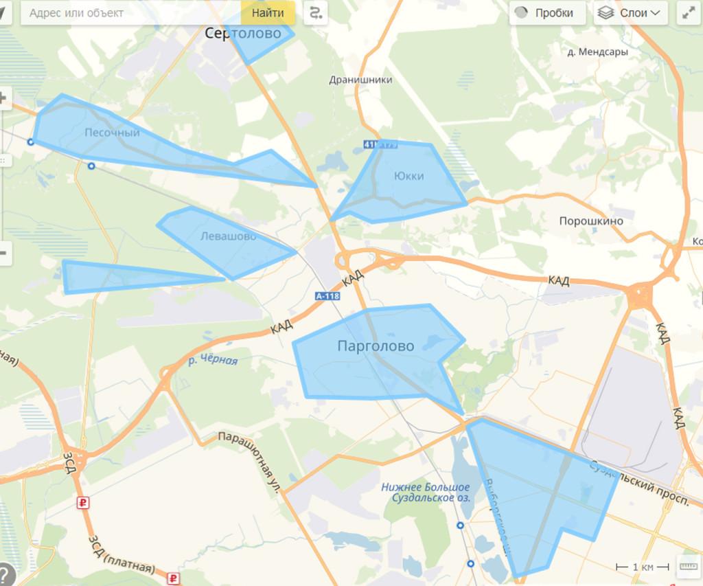 карта области доставки